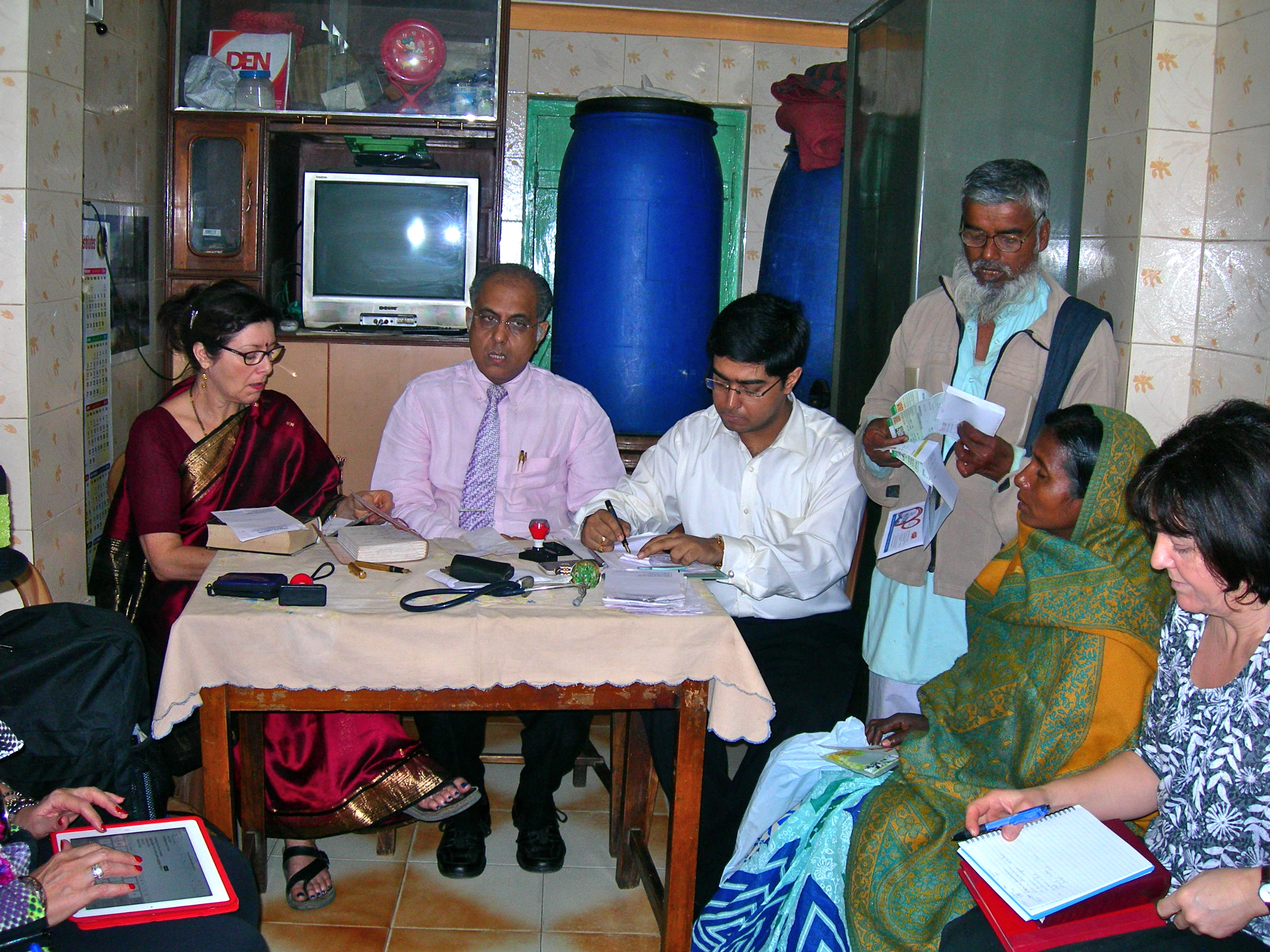 Janet, Subrata & Saptarshi in fast prescribing session at Slum Clinic