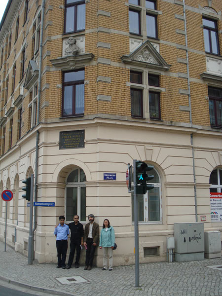 Subrata and Saptarshi in Hahnemann Platz, Meissen (the corner house, where Hahnemann was born).