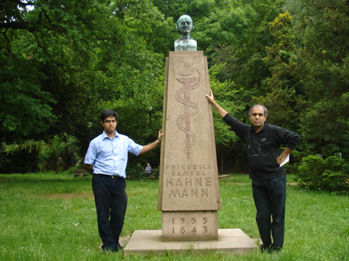 Subrata and Saptarshi in front of Hahnemann's Monument, Meissen.