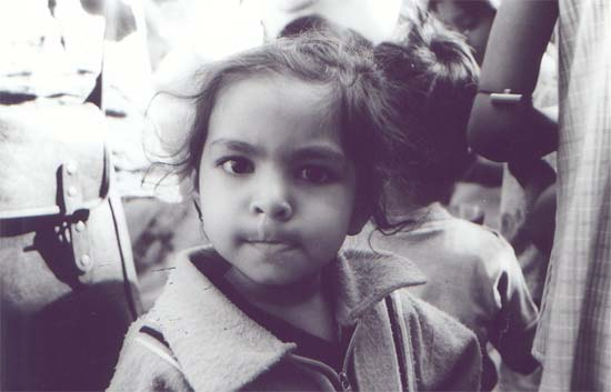 A slum child who lives in the slum area of Kolkata