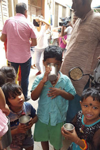 Children having milk